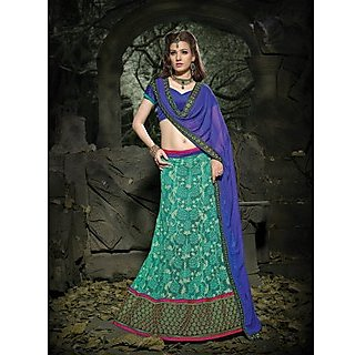 Suchi Fashion Turquoise And Royal Blue Embroidery Border Work Russel Net Semi Stitched Lehenga