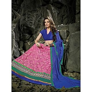 Suchi Fashion Pink And Royal Blue Embroidery Border Work Russel Net Semi Stitched Lehenga