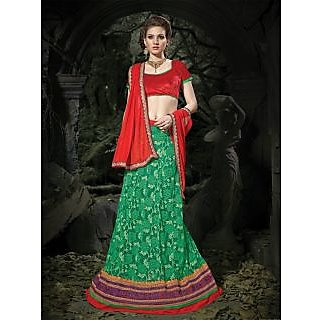 Suchi Fashion Green And Red Embroidery Border Work Russel Net Semi Stitched Lehenga
