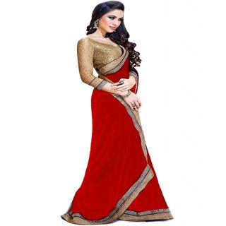 Ansu Fashion Red Color Border Work Faux Georgette Saree - 75023338
