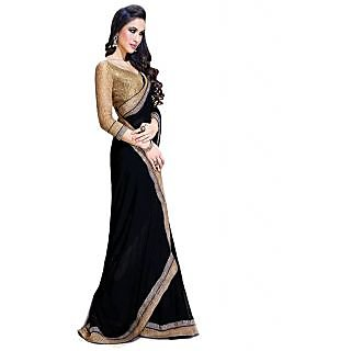 Ansu Fashion Black Color Border Work Faux Georgette Saree