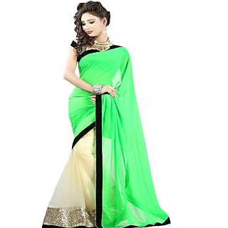 Ansu Fashion Green Color Border Work Faux Georgette Saree
