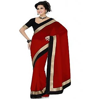 Ansu Fashion Red Color Border Work Faux Georgette Saree
