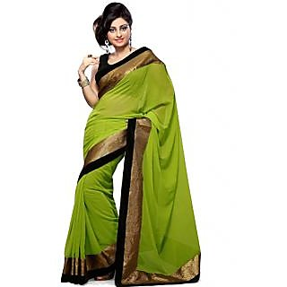 Ansu Fashion Green Color Border Work Faux Georgette Saree - 75023350