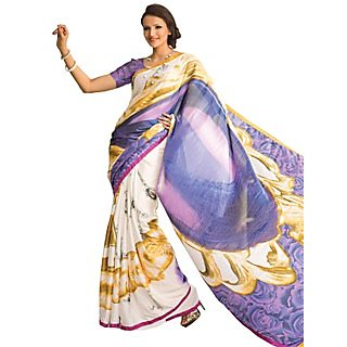 Tamanna Ronak Multicolor Satin, Georgette Designer Printed Saree - 75023888