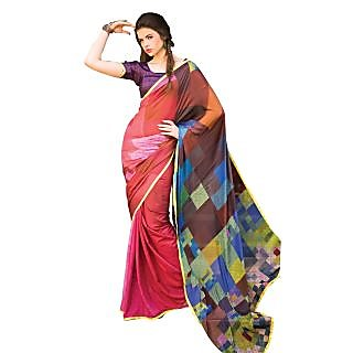 Tamanna Ronak Multicolor Silk, Sparkle Crepe Designer Printed Saree