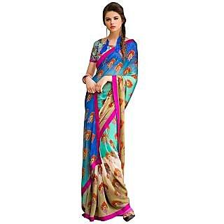 Tamanna Ronak Multicolor Georgette Designer Printed Saree - 75023864