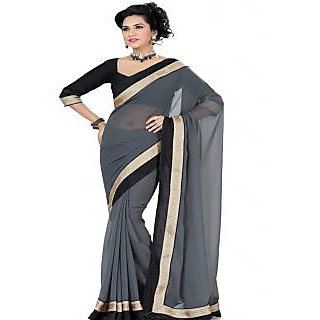 Ansu Fashion Gray Color Border Work Faux Georgette Saree