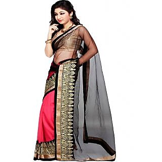 Ansu Fashion Black Color Embroidered Faux Georgette Saree