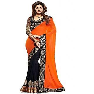 Ansu Fashion Orange Black Color Embroidered Faux Georgette Saree