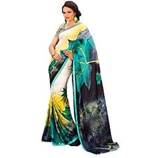 Tamanna Ronak Multicolor Satin, Georgette Designer Printed Saree