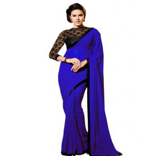 Ansu Fashion Royal Blue Color Border Work Faux Georgette Saree
