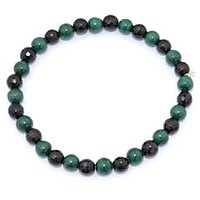 Kriti Feng Shui Diamond Cut Black Tourmaline With Malachite Bracelet