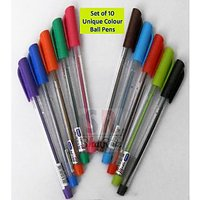 Set Of 10 Unique Colour Ball Pens
