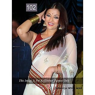 AISH.WHITE&RED  Chiffon BOLLYWOOD SAREE -102