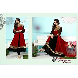 Georgette Red Salwar Kameez Semi Stitched
