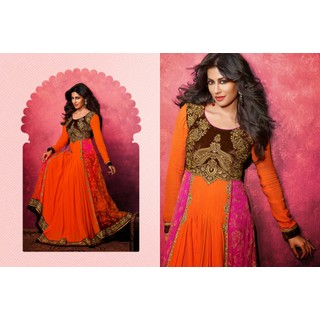 Georgette Orange Salwar Kameez Semi Stitched