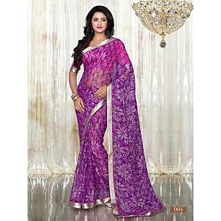 Purple Colour Printed Brasso Pattern Designer Saree With Designer Blouse Piece