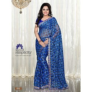 Blue Colour Printed Brasso Pattern Designer Saree With Designer Blouse Piece