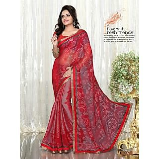Red Colour Printed Brasso Pattern Designer Saree With Designer Blouse Piece