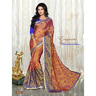 Multi Color Printed Brasso Pattern Designer Saree With Designer Blouse Piece