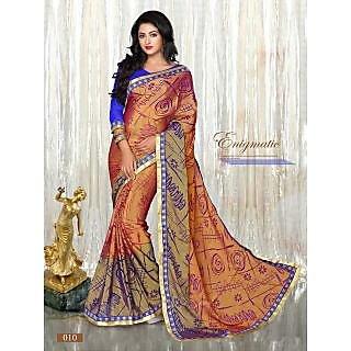Multi Color Printed Brasso Pattern Designer Saree With Designer Blouse Piece