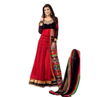 The New Designer Attractive Red And Black Anarkali Suit