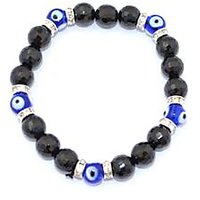 Kriti Feng Shui Black Tourmaline And Turkish Evil Eye Bracelet (Diamond Cut)