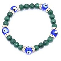 Kriti Feng Shui Malachite With Turkish Evil Eye Bracelet