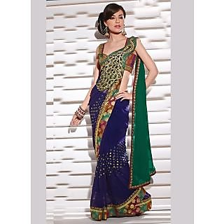 Peacock Designer Saree Deep Blue Faux Chiffone Saree