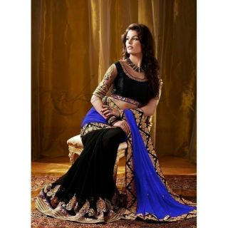 Designer Blue Half-Half Saree - Online Shopping For Bollywood Sarees