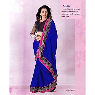 Designer Nazakat Blue Heavy Work Saree -1011