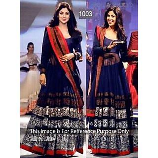Shilpa Shetty Navy Blue Long Anarkali Suit