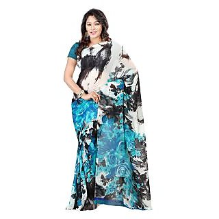 Yomeeto Faux Georgette Fabric Blue Colured Printed Saree
