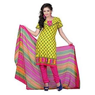 Fabdeal Yellow Colored American Crepe Printed Dress Material