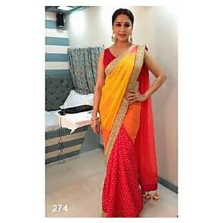 Richlady Fashion Madhuri Dixit Crepe Lace Work Yellow & Red Saree