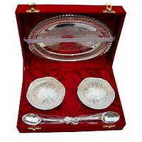Best Quality Silver Plated Serving Bowl Set With Spoons And Tray