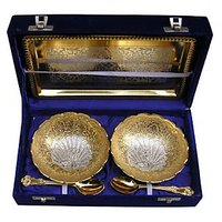 Best Quality Silver Gold Plated Two Tone Serving Bowl Set With Spoons And Tray
