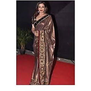 Richlady Fashion Raveena Tandon Georgette Border Work Brown Saree