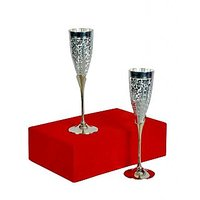 Engraved Silver Plated Whisky Mug / Goblet Set Of 2 Pcs