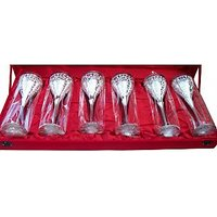 Engraved Silver Plated Whisky Mug / Goblet Set Of 6 Pcs