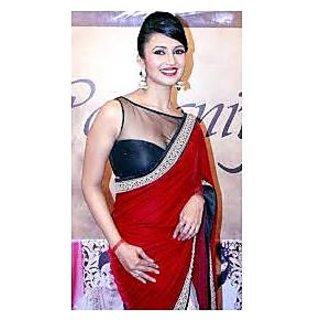 Richlady Fashion Divyanka Tripathi Moss Thread Work Red & White Saree