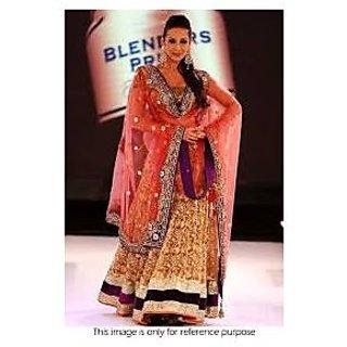 Richlady Fashion Malaika Arora Net Thread Work Golden Lehnga Choli
