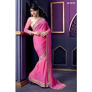 Justkartit Pink And Cream Color Georgette Based Brocade,Net Designer Saree