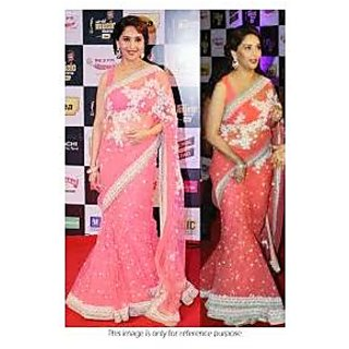 Richlady Fashion Madhuri Dixit Net Thread Work Pink Saree