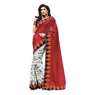 Radhika Art Silk Border Saree With Blouse Piece