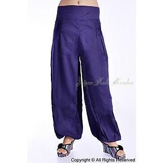 Women Purple Color 100% Rayon Harem Pants Trousers Bottoms