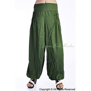 Women Dark Green Color 100% Rayon Harem Pants Trousers Bottoms
