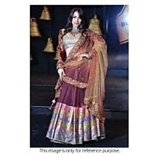 Richlady Fashion Malaika Arora Georgette Gold Lehnga Choli