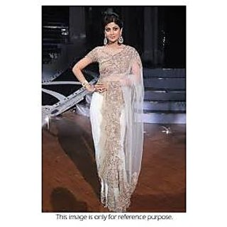 Richlady Fashion Shilpa Shetty Net Border Work White Saree